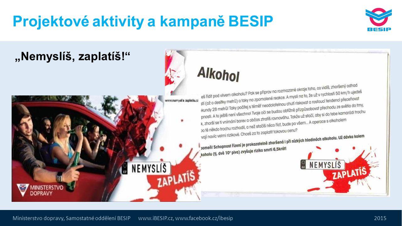 """Ministerstvo dopravy, Samostatné oddělení BESIP www.iBESIP.cz, www.facebook.cz/ibesip 2015 Projektové aktivity a kampaně BESIP """"Nemyslíš, zaplatíš!"""""""