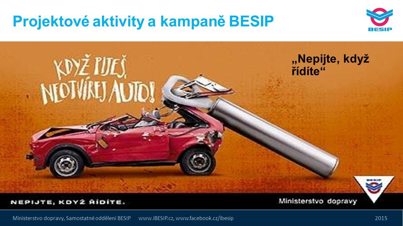 """Ministerstvo dopravy, Samostatné oddělení BESIP www.iBESIP.cz, www.facebook.cz/ibesip 2015 Projektové aktivity a kampaně BESIP """"Nepijte, když řídíte"""""""
