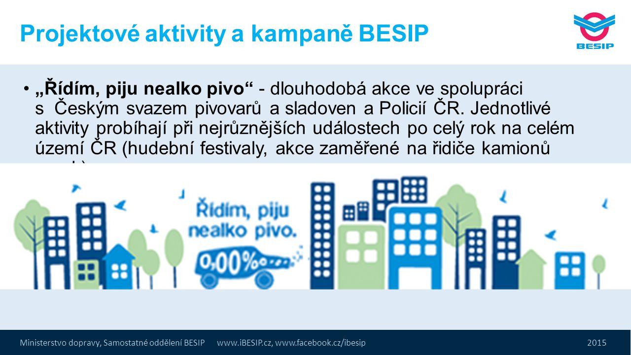 """Ministerstvo dopravy, Samostatné oddělení BESIP www.iBESIP.cz, www.facebook.cz/ibesip 2015 Projektové aktivity a kampaně BESIP """"Řídím, piju nealko piv"""