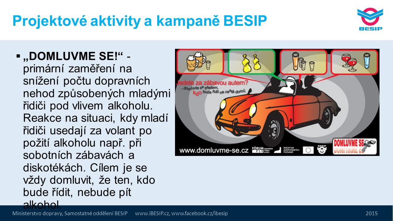 """Ministerstvo dopravy, Samostatné oddělení BESIP www.iBESIP.cz, www.facebook.cz/ibesip 2015 Projektové aktivity a kampaně BESIP  """"DOMLUVME SE!"""" - prim"""