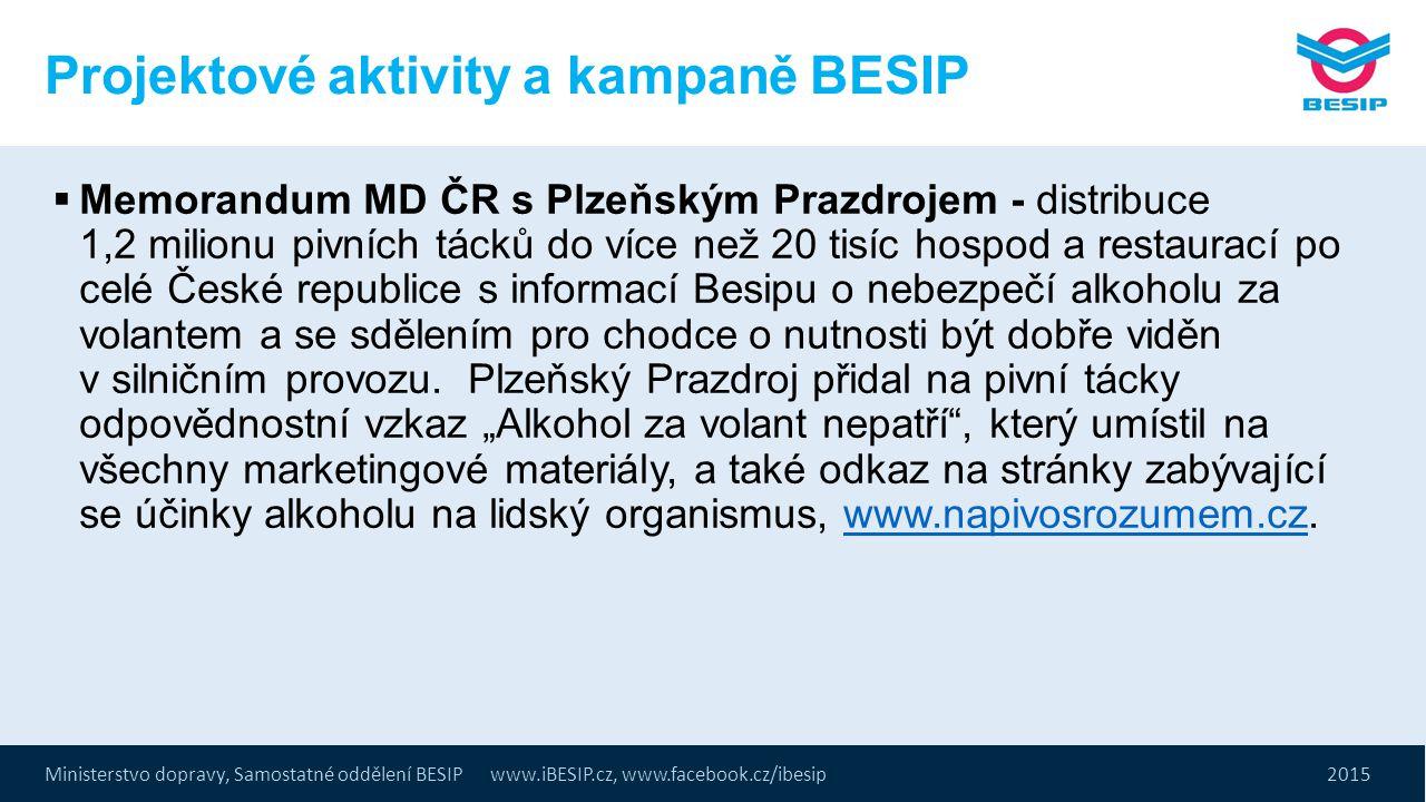 Ministerstvo dopravy, Samostatné oddělení BESIP www.iBESIP.cz, www.facebook.cz/ibesip 2015 Projektové aktivity a kampaně BESIP  Memorandum MD ČR s Pl