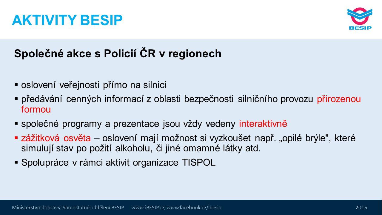 Ministerstvo dopravy, Samostatné oddělení BESIP www.iBESIP.cz, www.facebook.cz/ibesip 2015 AKTIVITY BESIP Společné akce s Policií ČR v regionech  osl