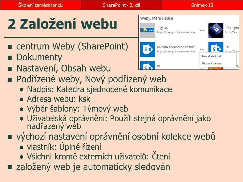 2 Založení webu centrum Weby (SharePoint) Dokumenty Nastavení, Obsah webu Podřízené weby, Nový podřízený web Nadpis: Katedra sjednocené komunikace Adr