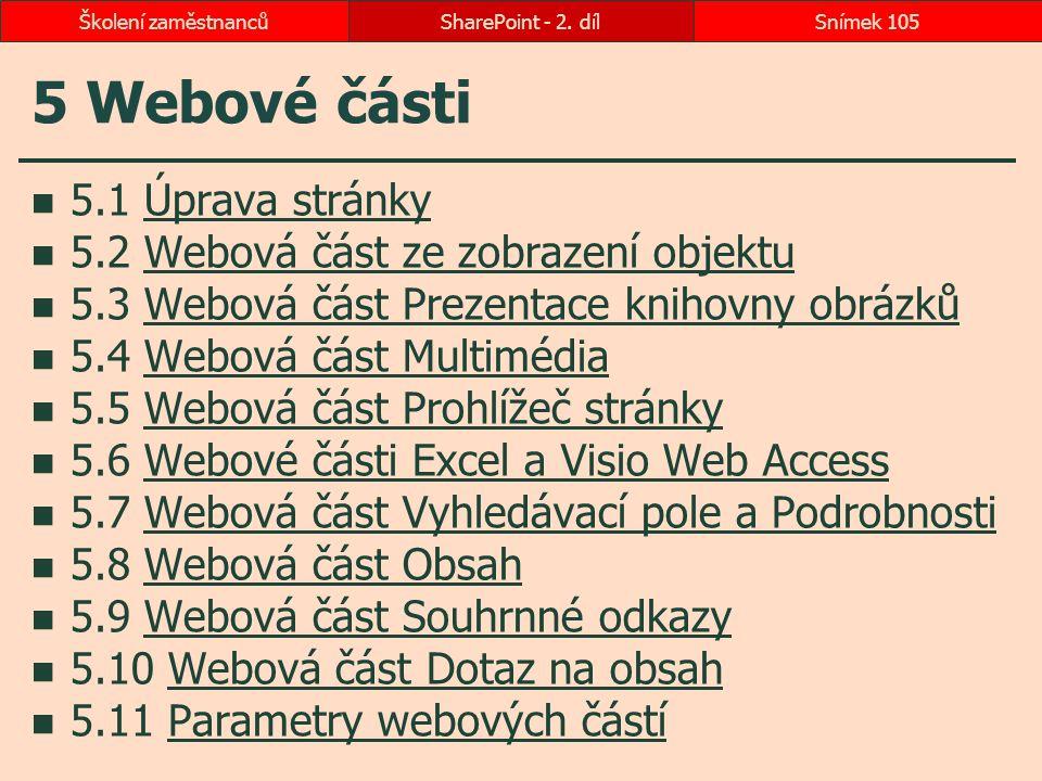 5 Webové části 5.1 Úprava stránkyÚprava stránky 5.2 Webová část ze zobrazení objektuWebová část ze zobrazení objektu 5.3 Webová část Prezentace knihov
