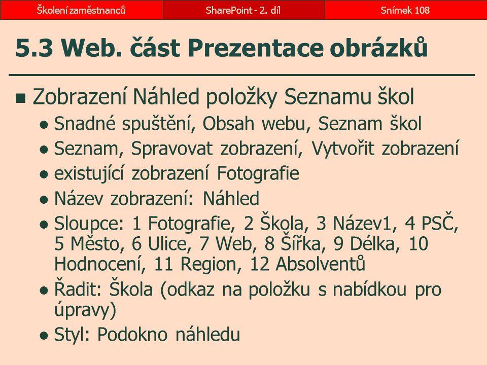 5.3 Web. část Prezentace obrázků Zobrazení Náhled položky Seznamu škol Snadné spuštění, Obsah webu, Seznam škol Seznam, Spravovat zobrazení, Vytvořit