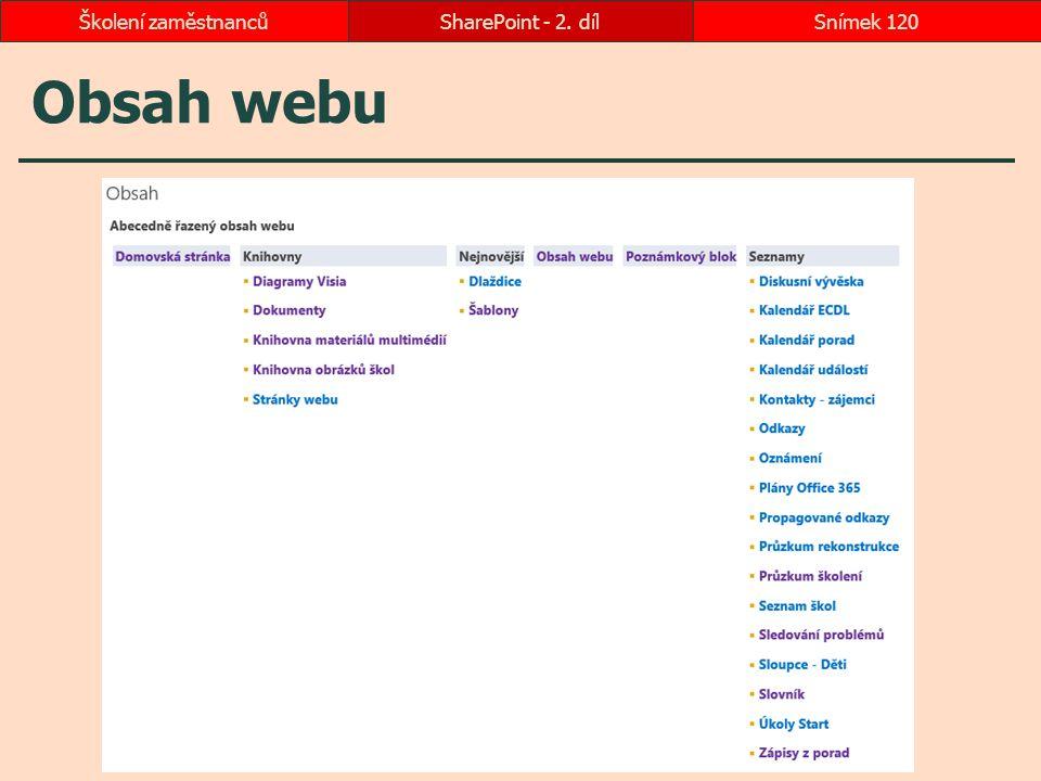 Obsah webu SharePoint - 2. dílSnímek 120Školení zaměstnanců
