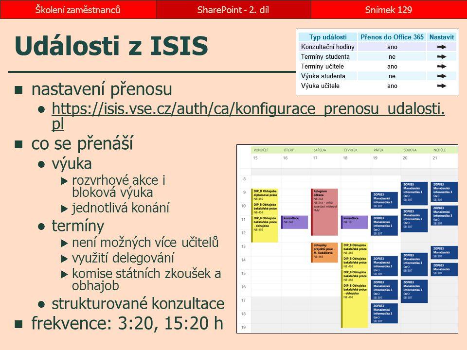 Události z ISIS nastavení přenosu https://isis.vse.cz/auth/ca/konfigurace_prenosu_udalosti. pl https://isis.vse.cz/auth/ca/konfigurace_prenosu_udalost