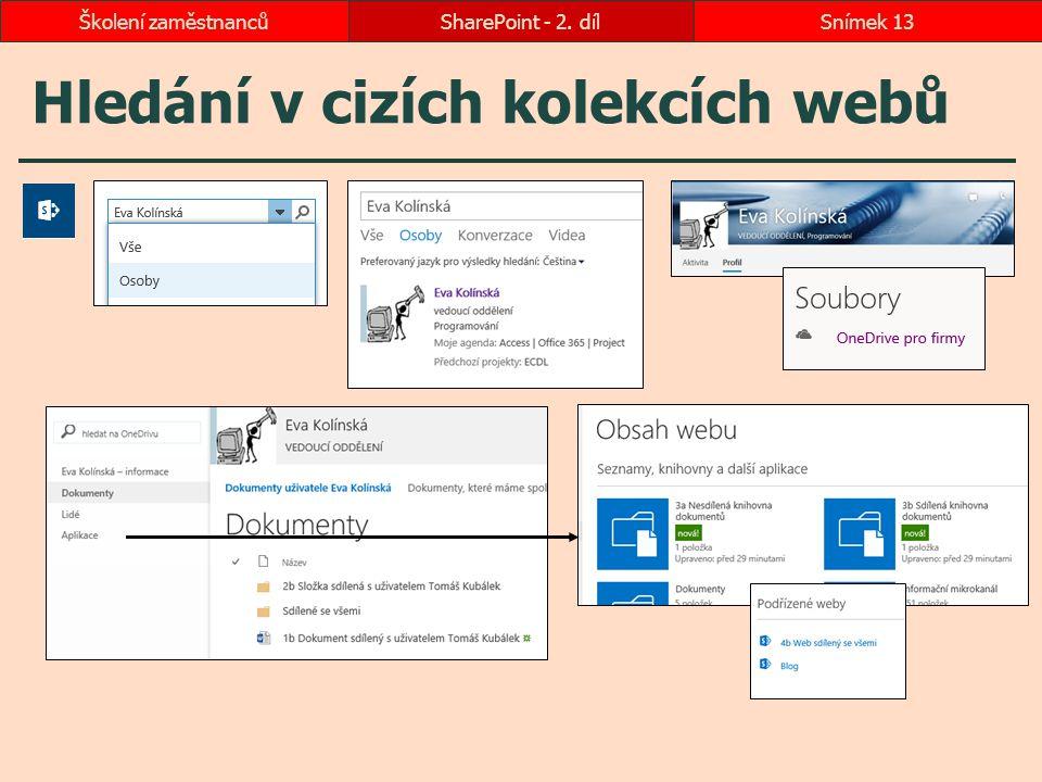 Hledání v cizích kolekcích webů SharePoint - 2. dílSnímek 13Školení zaměstnanců