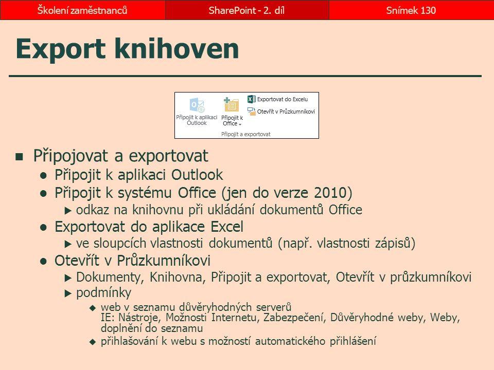 Export knihoven Připojovat a exportovat Připojit k aplikaci Outlook Připojit k systému Office (jen do verze 2010)  odkaz na knihovnu při ukládání dok