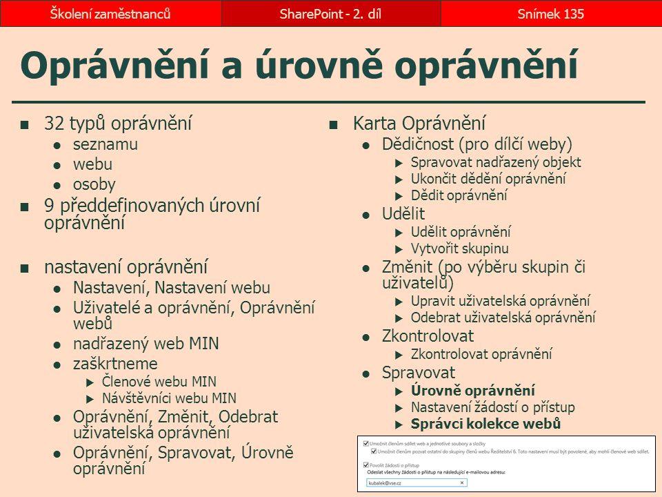 Oprávnění a úrovně oprávnění 32 typů oprávnění seznamu webu osoby 9 předdefinovaných úrovní oprávnění nastavení oprávnění Nastavení, Nastavení webu Už