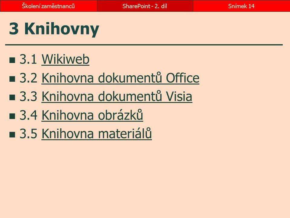 3 Knihovny 3.1 WikiwebWikiweb 3.2 Knihovna dokumentů OfficeKnihovna dokumentů Office 3.3 Knihovna dokumentů VisiaKnihovna dokumentů Visia 3.4 Knihovna