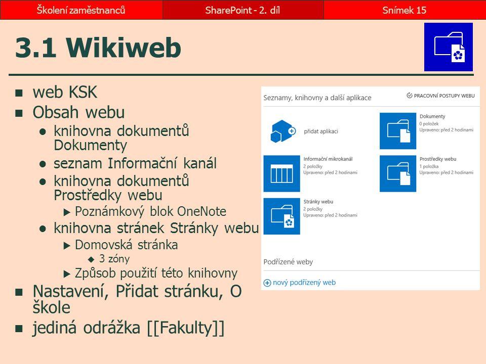 3.1 Wikiweb web KSK Obsah webu knihovna dokumentů Dokumenty seznam Informační kanál knihovna dokumentů Prostředky webu  Poznámkový blok OneNote kniho