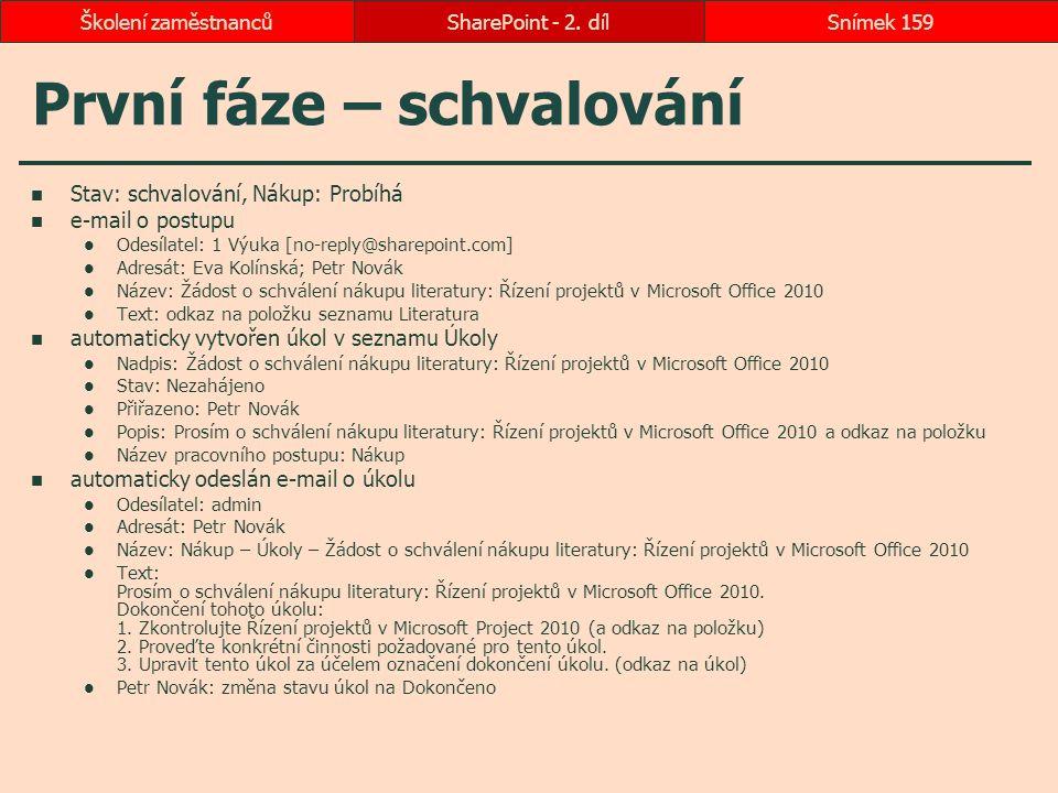 První fáze – schvalování Stav: schvalování, Nákup: Probíhá e-mail o postupu Odesílatel: 1 Výuka [no-reply@sharepoint.com] Adresát: Eva Kolínská; Pet