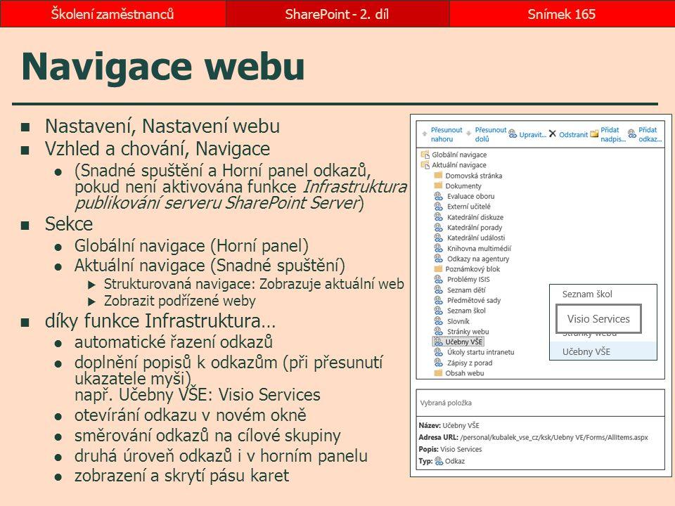Navigace webu Nastavení, Nastavení webu Vzhled a chování, Navigace (Snadné spuštění a Horní panel odkazů, pokud není aktivována funkce Infrastruktura