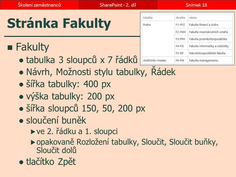 Stránka Fakulty Fakulty tabulka 3 sloupců x 7 řádků Návrh, Možnosti stylu tabulky, Řádek šířka tabulky: 400 px výška tabulky: 200 px šířka sloupců 150