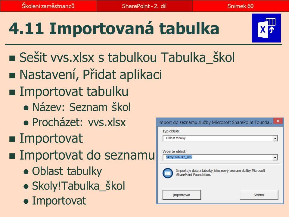 4.11 Importovaná tabulka Sešit vvs.xlsx s tabulkou Tabulka_škol Nastavení, Přidat aplikaci Importovat tabulku Název: Seznam škol Procházet: vvs.xlsx I