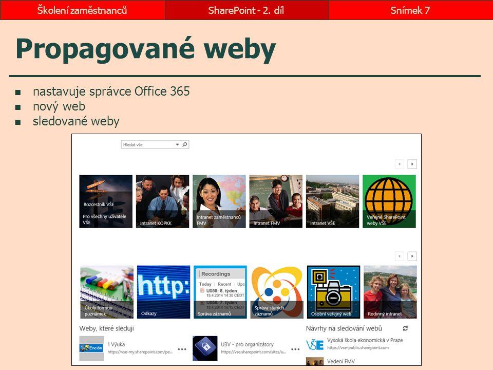 Propagované weby SharePoint - 2. dílSnímek 7Školení zaměstnanců nastavuje správce Office 365 nový web sledované weby