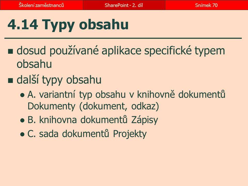 4.14 Typy obsahu dosud používané aplikace specifické typem obsahu další typy obsahu A. variantní typ obsahu v knihovně dokumentů Dokumenty (dokument,