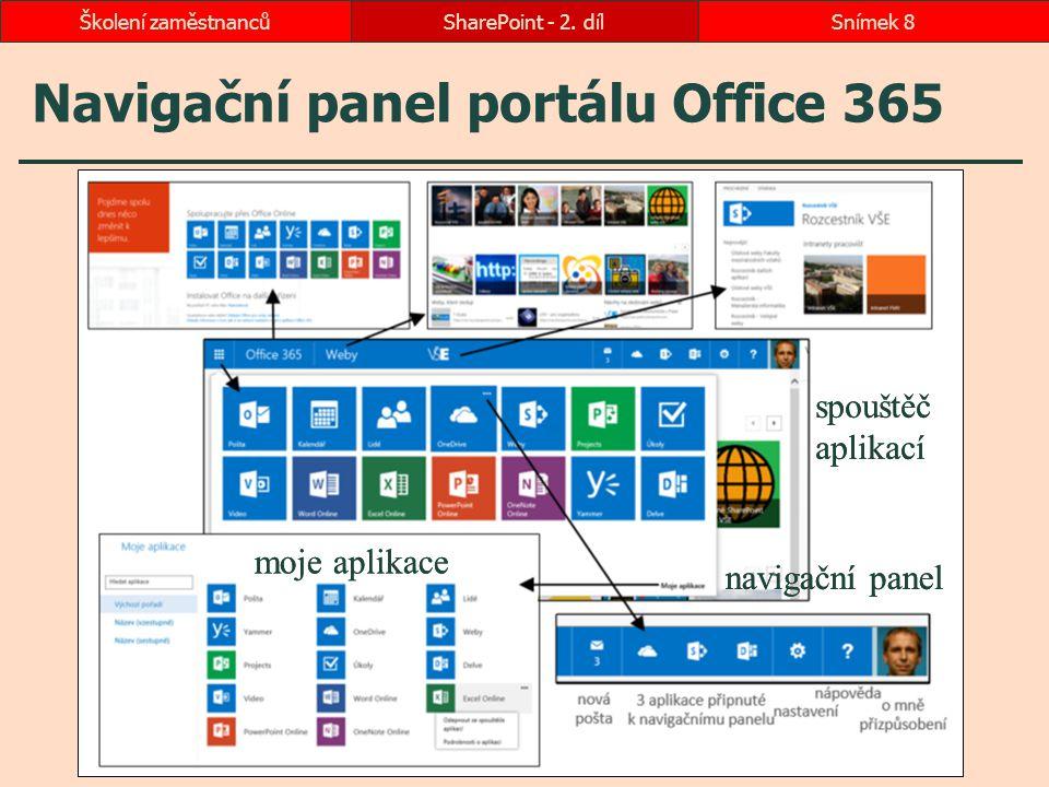 Navigační panel portálu Office 365 SharePoint - 2. dílSnímek 8Školení zaměstnanců moje aplikace spouštěč aplikací navigační panel moje aplikace spoušt