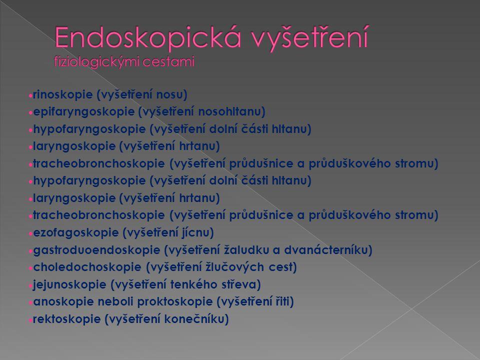  sigmoideoskopie (vyšetření esovité kličky tlustého střeva)  kolonoskopie (vyšetření tlustého střeva)  kolposkopie neboli vaginoskopie (vyšetření pochvy a děložního čípku)  uteroskopie neboli hysteroskopie (vyšetření děložní dutiny)  amnioskopie (vyšetření plodového vaku)  fetoskopie (vyšetření plodu)  uretroskopie (vyšetření močové trubice)  cystoskopie (vyšetření močového měchýře)  ureteroskopie (vyšetření močovodu)  pyeloskopie (vyšetření ledvinové pánvičky)