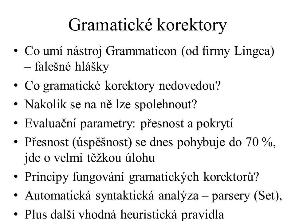 Gramatické korektory Co umí nástroj Grammaticon (od firmy Lingea) – falešné hlášky Co gramatické korektory nedovedou? Nakolik se na ně lze spolehnout?