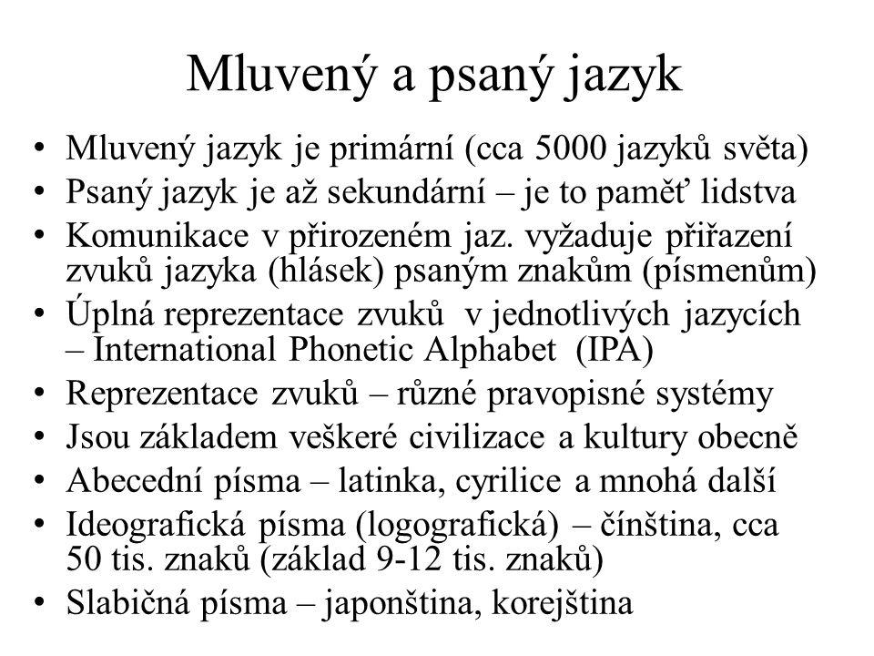 Mluvený a psaný jazyk Mluvený jazyk je primární (cca 5000 jazyků světa) Psaný jazyk je až sekundární – je to paměť lidstva Komunikace v přirozeném jaz