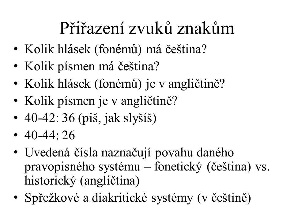 Přiřazení zvuků znakům Kolik hlásek (fonémů) má čeština? Kolik písmen má čeština? Kolik hlásek (fonémů) je v angličtině? Kolik písmen je v angličtině?