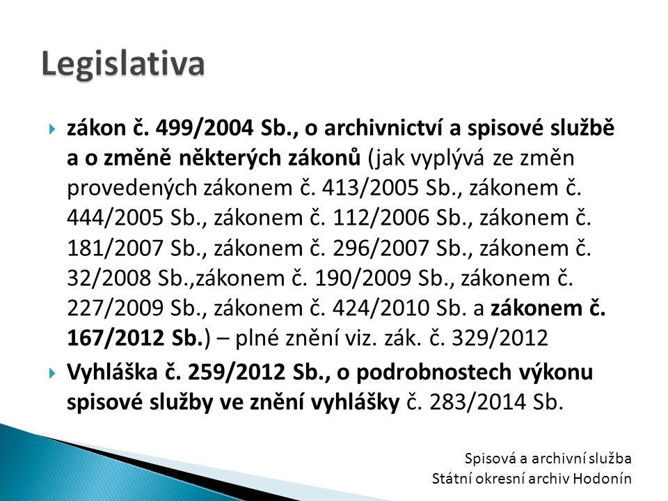  zákon č. 499/2004 Sb., o archivnictví a spisové službě a o změně některých zákonů (jak vyplývá ze změn provedených zákonem č. 413/2005 Sb., zákonem