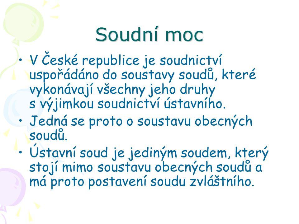 Soudní moc V České republice je soudnictví uspořádáno do soustavy soudů, které vykonávají všechny jeho druhy s výjimkou soudnictví ústavního. Jedná se