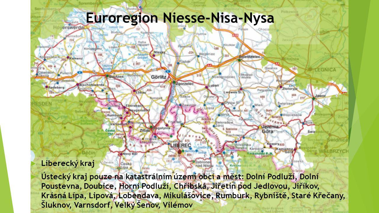 Euroregion Niesse-Nisa-Nysa  Liberecký kraj  Ústecký kraj pouze na katastrálním území obcí a měst: Dolní Podluží, Dolní Poustevna, Doubice, Horní Po