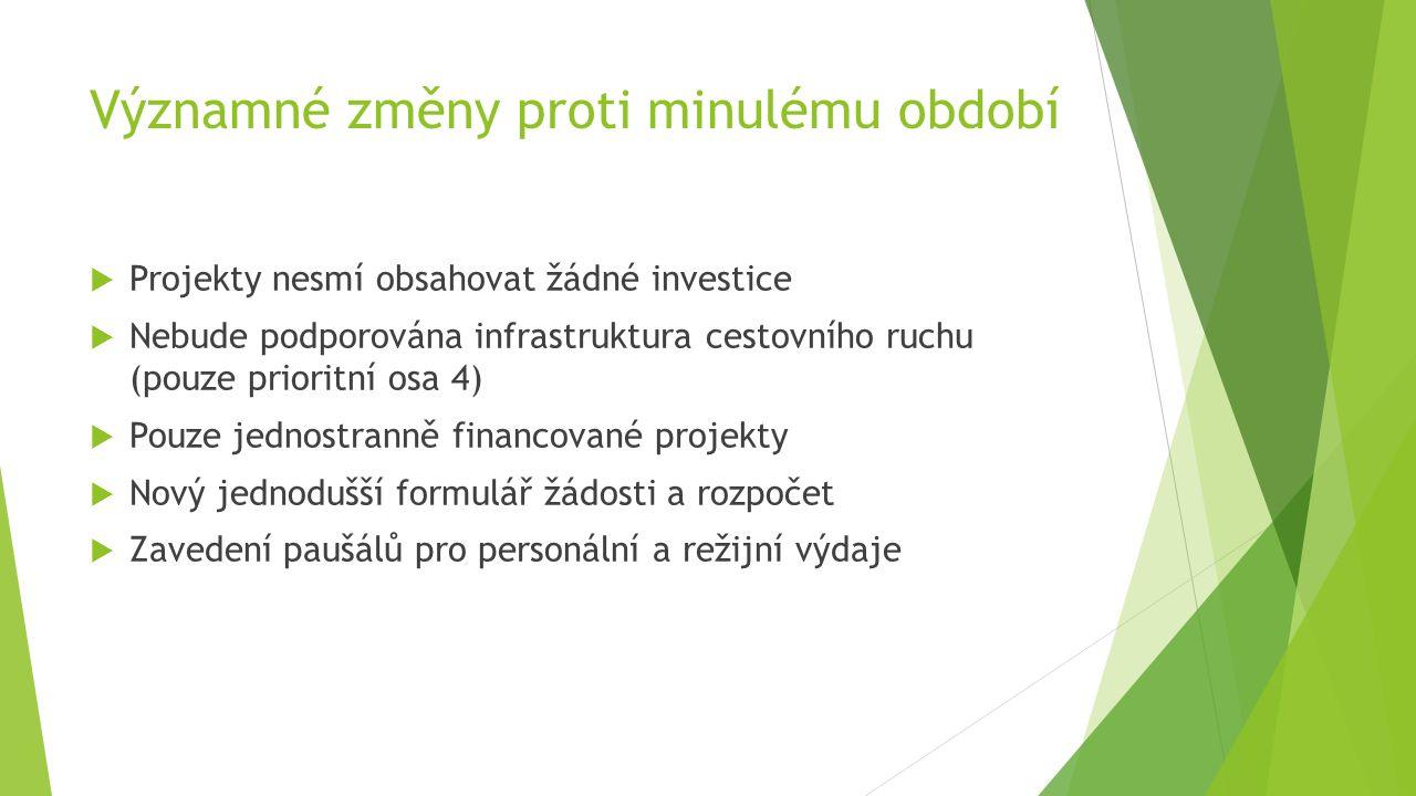 Významné změny proti minulému období  Projekty nesmí obsahovat žádné investice  Nebude podporována infrastruktura cestovního ruchu (pouze prioritní