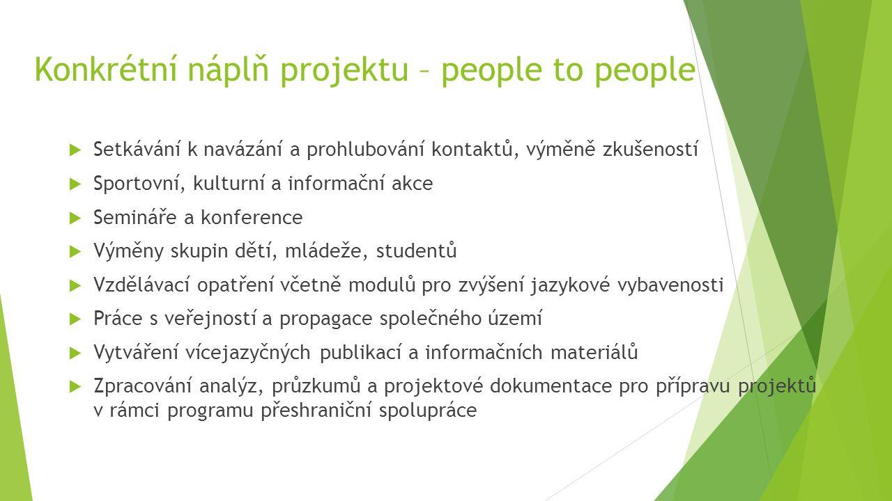 Konkrétní náplň projektu – people to people  Setkávání k navázání a prohlubování kontaktů, výměně zkušeností  Sportovní, kulturní a informační akce