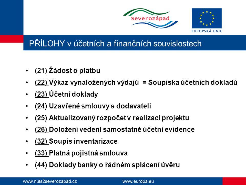 PŘÍLOHY v účetních a finančních souvislostech (21) Žádost o platbu (22) Výkaz vynaložených výdajů = Soupiska účetních dokladů (23) Účetní doklady (24)