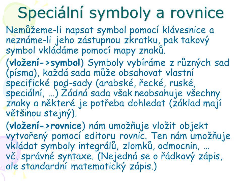Nemůžeme-li napsat symbol pomocí klávesnice a neznáme-li jeho zástupnou zkratku, pak takový symbol vkládáme pomocí mapy znaků.