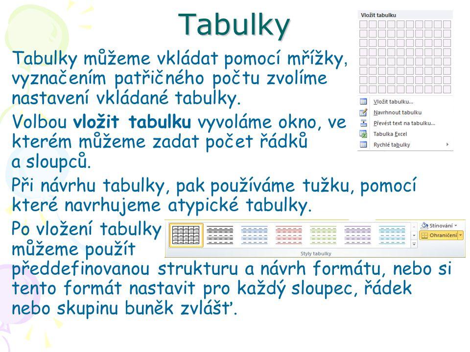 Tabulky můžeme vkládat pomocí mřížky, vyznačením patřičného počtu zvolíme nastavení vkládané tabulky.