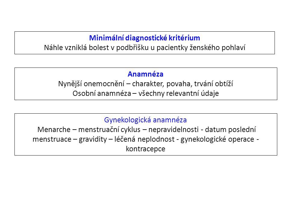 Minimální diagnostické kritérium Náhle vzniklá bolest v podbřišku u pacientky ženského pohlaví Anamnéza Nynější onemocnění – charakter, povaha, trvání
