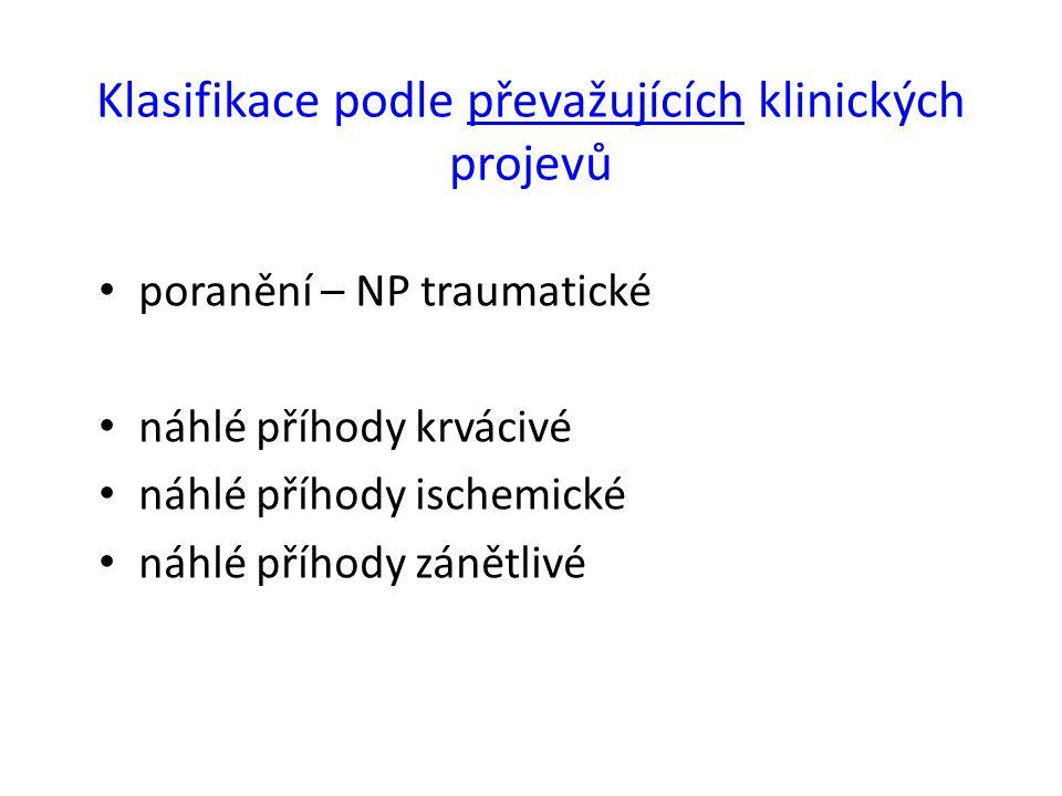 Klasifikace podle převažujících klinických projevů poranění – NP traumatické náhlé příhody krvácivé náhlé příhody ischemické náhlé příhody zánětlivé