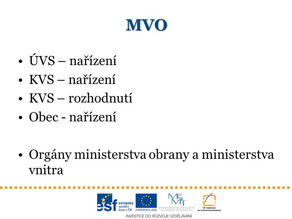 MVO ÚVS – nařízení KVS – nařízení KVS – rozhodnutí Obec - nařízení Orgány ministerstva obrany a ministerstva vnitra