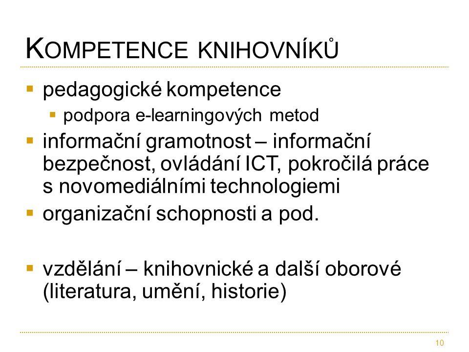  pedagogické kompetence  podpora e-learningových metod  informační gramotnost – informační bezpečnost, ovládání ICT, pokročilá práce s novomediálními technologiemi  organizační schopnosti a pod.