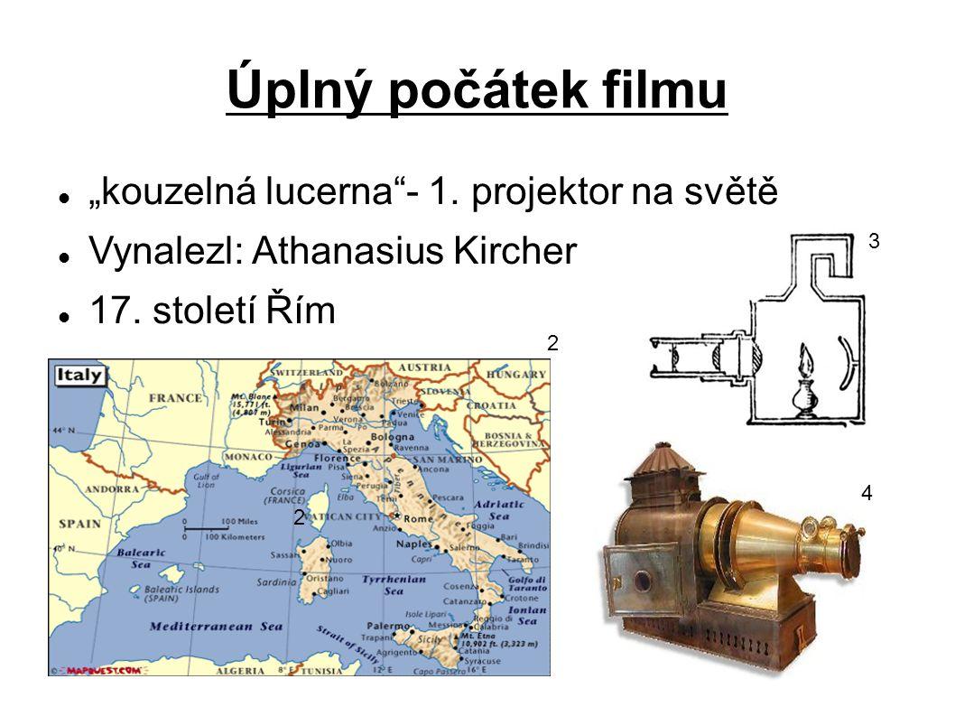 Vývoj filmu 1824- 1.OPTICKÝ KLAM 1832- FANTASKOP (Joseph Plateau) 1826- 1.