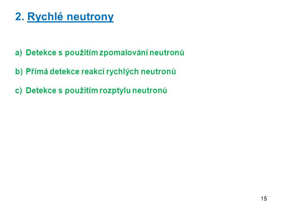 15 2. Rychlé neutrony a)Detekce s použitím zpomalování neutronů b)Přímá detekce reakcí rychlých neutronů c)Detekce s použitím rozptylu neutronů