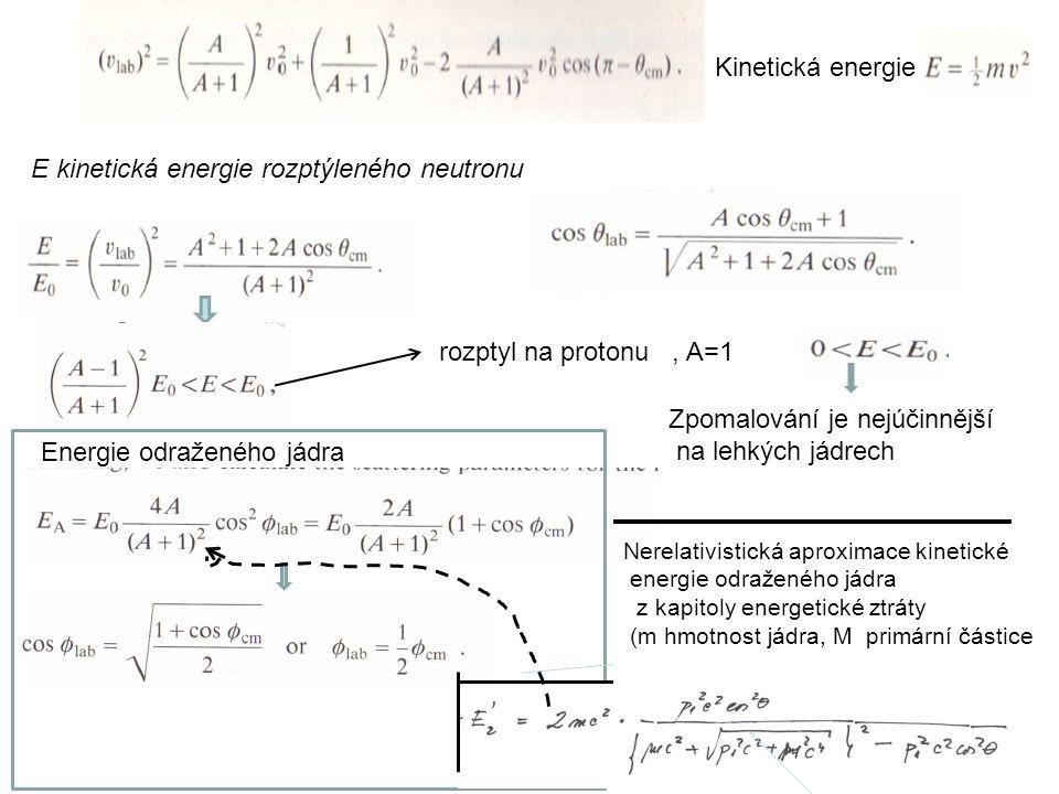 17 E kinetická energie rozptýleného neutronu Energie odraženého jádra Scattering on protons, A=1 Zpomalování je nejúčinnější na lehkých jádrech Kineti