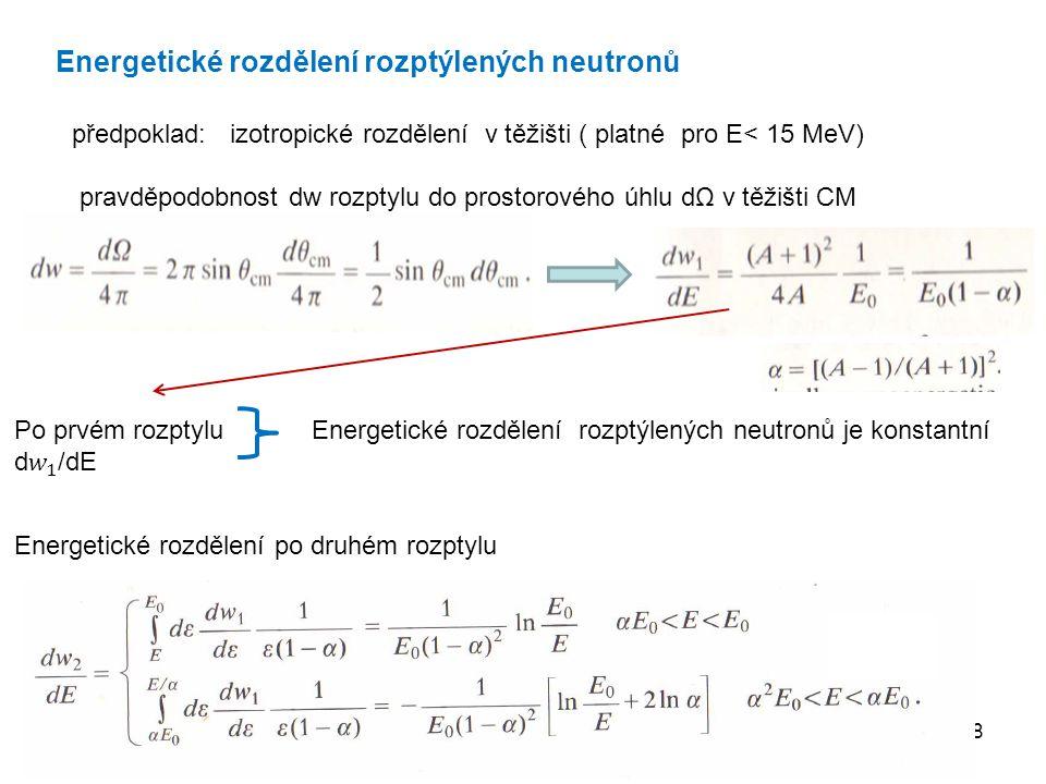 18 Energetické rozdělení rozptýlených neutronů předpoklad: izotropické rozdělení v těžišti ( platné pro E< 15 MeV) pravděpodobnost dw rozptylu do pros