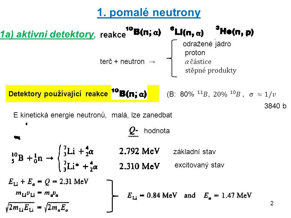 23 2b) Přímá detekce neelastických reakcí rychlých neutronů Zpomalování ⟹ -eliminuje informace o energii rzchlých neutronů - process je pomalý, není rychlá odezva detektoru Bez zpomalení ⟹ výhody: přímá detekce sekundárních produktů reakcí přímé měření energií produktů součet energií = počáteční energi neutronu rychlé signály nevýhody: účinný průřez je řádově menší než pro tepelné neutrony Dvě používané reakce v detektorech Jiné detektory: na principu aktivace