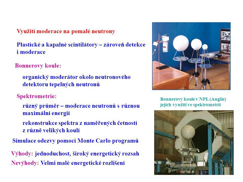 Detektory rychlých neutronů Využití moderace na pomalé neutrony Plastické a kapalné scintilátory – zároveň detekce i moderace Bonnerovy koule: Bonnero