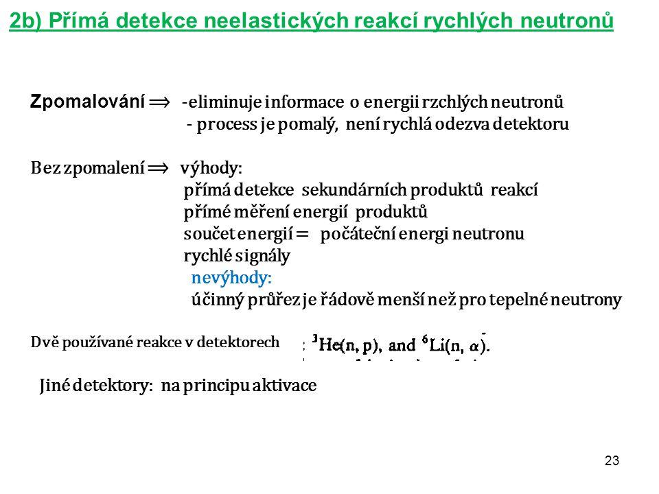 23 2b) Přímá detekce neelastických reakcí rychlých neutronů Zpomalování ⟹ -eliminuje informace o energii rzchlých neutronů - process je pomalý, není r
