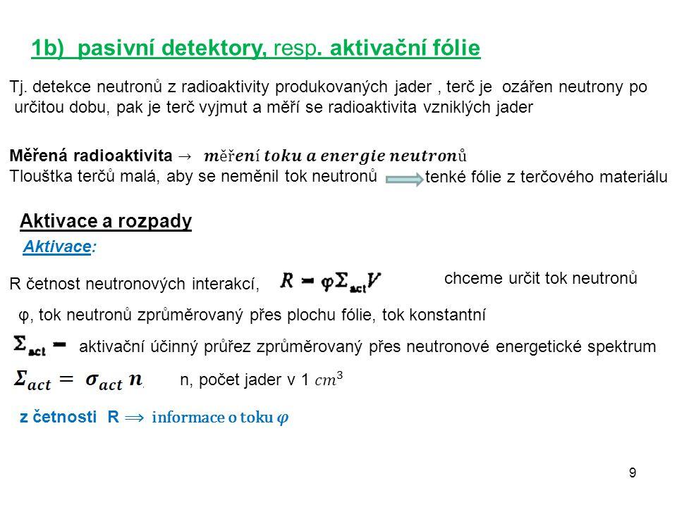 10 Rozpady: N celkový počet vzniklých radioaktivních jader v čase t R je konstantní v t=0 je N = 0 Aktivita A fólie: λN, ε účinnost registrace, B četnost pozadí neutronový tok λ = 1/τ