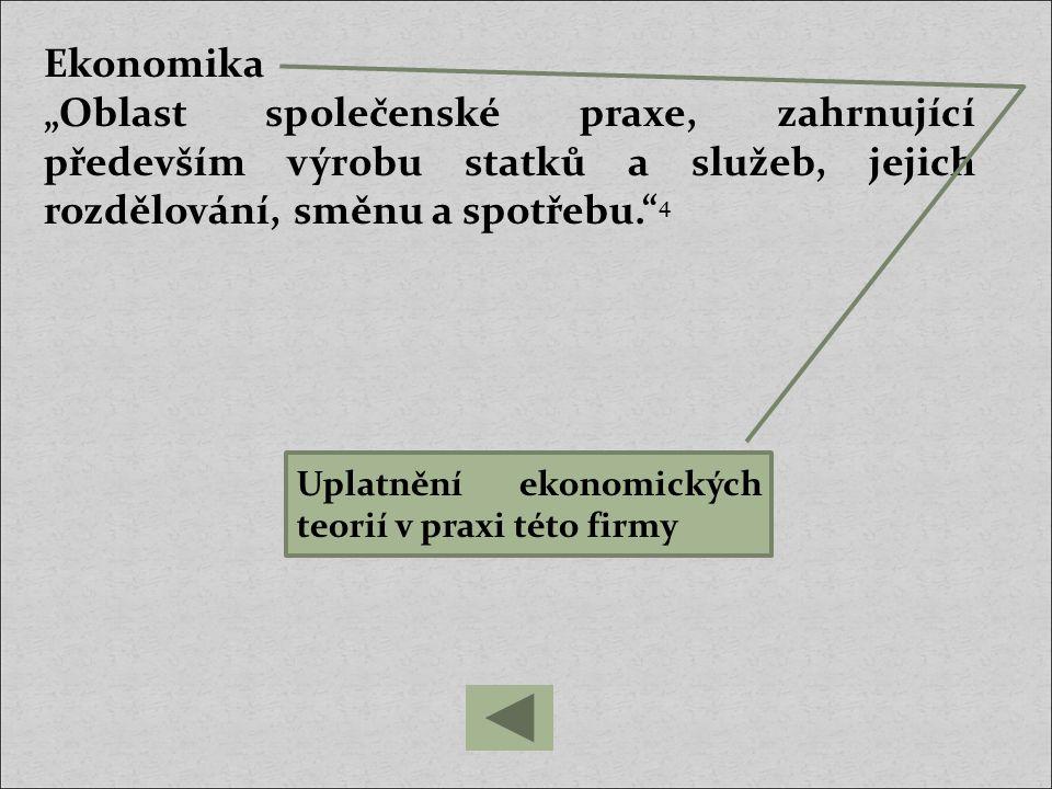 hospodářství - probíhající hospodářský proces (výroba, rozdělování, směna, spotřeba) Výroba je činnost, při které člověk přetváří přírodu ve statky a služby.