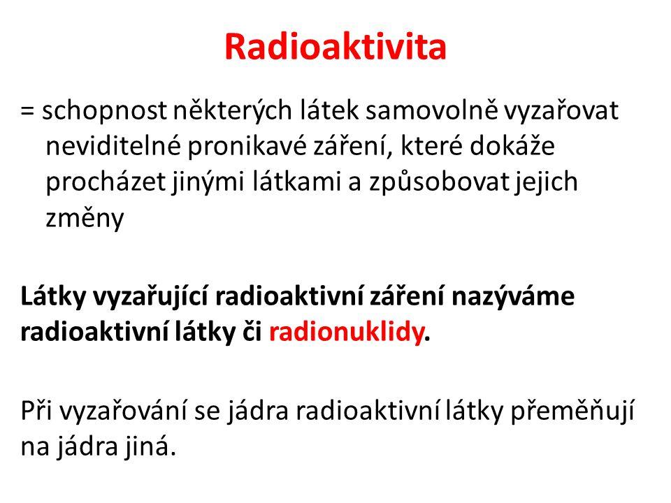 Radioaktivita = schopnost některých látek samovolně vyzařovat neviditelné pronikavé záření, které dokáže procházet jinými látkami a způsobovat jejich