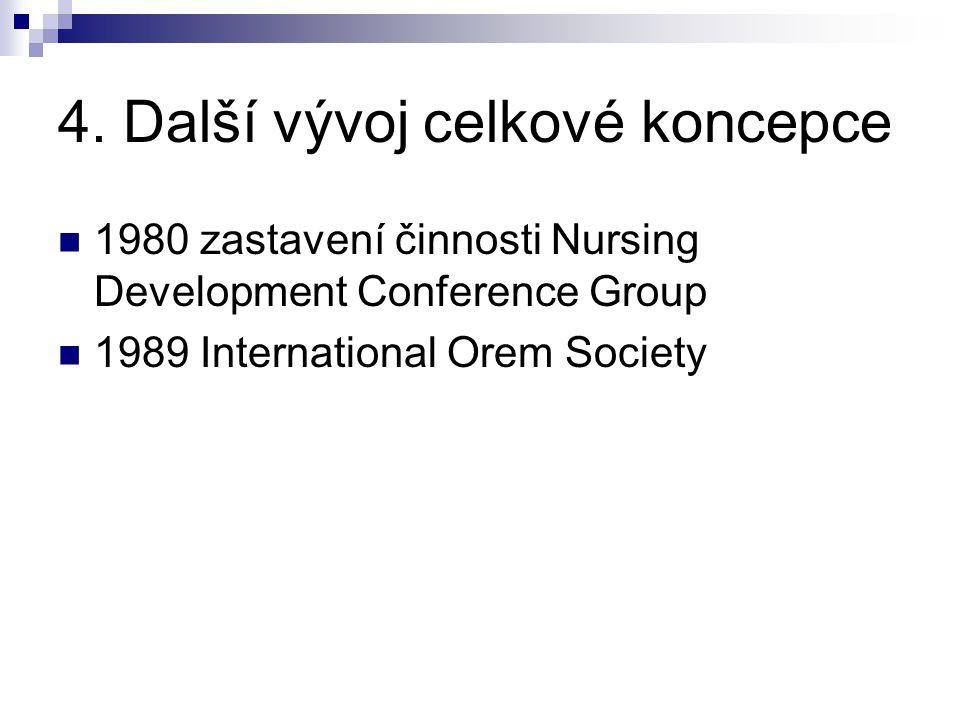 4. Další vývoj celkové koncepce 1980 zastavení činnosti Nursing Development Conference Group 1989 International Orem Society